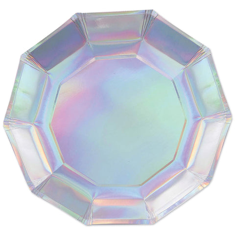 "Iridescent Decagon Plate 9"" (Pack of 8)"