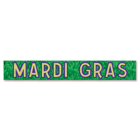 "'Metallic Mardi Gras Banner 10"" x 6'' Green with Gold Glittered Purple Letters (Each)'"