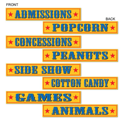 "Circus Sign Cutout - Printed on Two Sides 4"" x 24"" (Pack of 4)"