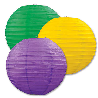 "Paper Lanterns 9.5"" Assorted Colors - Golden-Yellow, Green, Purple (3 Count)"