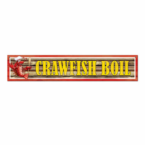 "'Crawfish Boil Banner 12"" x 5'' - Vinyl with 2 Grommets (Each)'"
