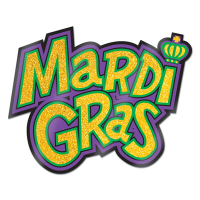 "Glittered Mardi Gras Sign 12"" x 16"" (Each)"