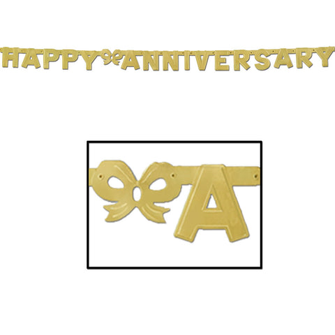 "'Foil Happy Anniversary Streamer 4.25"" x 6'' Gold (Each)'"