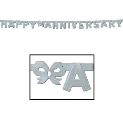 "'Foil Happy Anniversary Streamer 4.25"" x 6'' Silver (Each)'"