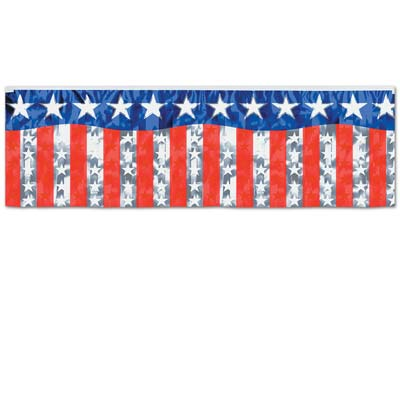 "'Metallic Stars and Stripes Fringe Banner 14"" x 4'' (Each)'"