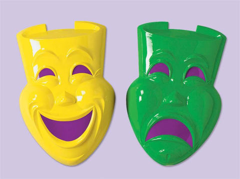 "Plastic Comedy and Tragedy Face 21"" (Pair)"