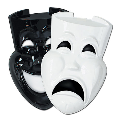 "Plastic Black and White Comedy and Tragedy Faces 21"" (Pair)"