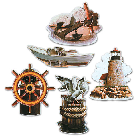 "Nautical Cutouts 16"" 5/Packaged-Printed - 2 Sides (Each)"