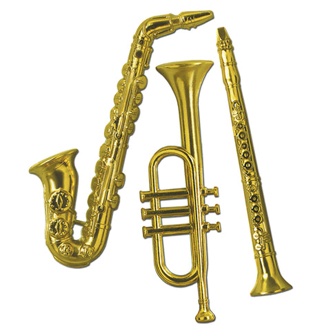 "Gold Plastic Musical Instruments 17""- 21"" (3 Piece Pack)"