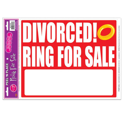 "'Divorced! Ring For Sale Peel ''N Place 12"" x 17"" (Each)'"