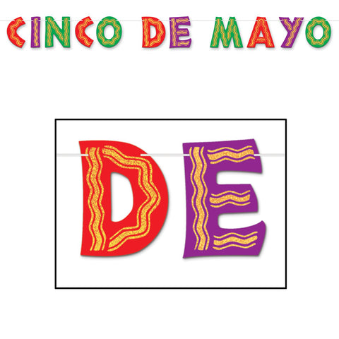 "Glittered Cinco De Mayo Streamer 85"" x 10   (Each)"