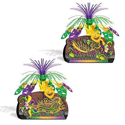 "Mardi Gras Float Centerpiece 12.75"" different design front and back (Each)"