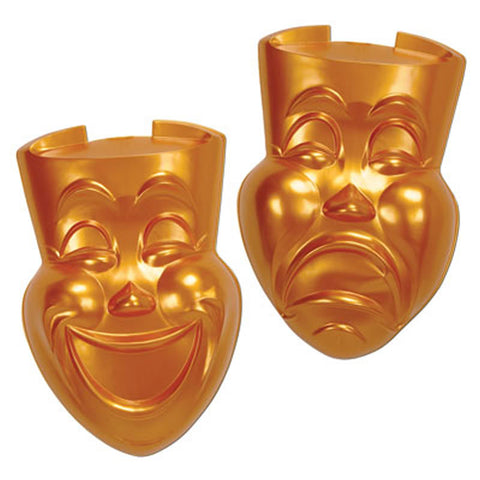 Gold Plastic Comedy and Tragedy Faces (Pair)