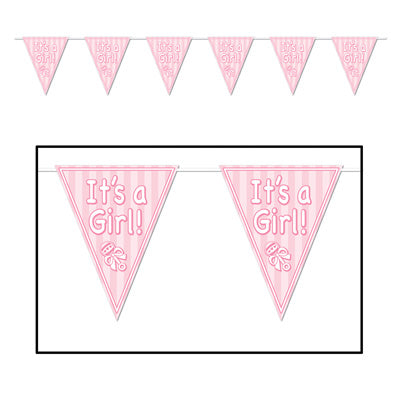 "It's A Girl Pennant Banner 10"" x 12' (Each)"