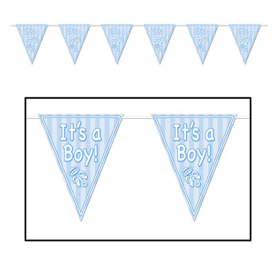 "It's A Boy Pennant Banner 10"" x 12'   (Each)"