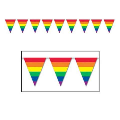 "'Rainbow Pennant Banner 10"" x 12'' - All-Weather - 12 Pennants/String (Each)'"