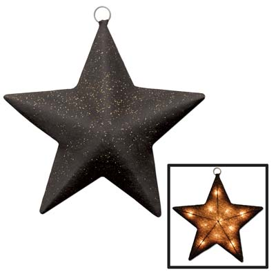 Black and Gold Light-Up Sparkle Star (Each)