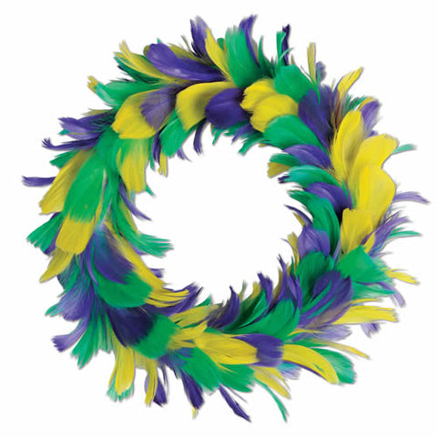 "12"" Purple, Green, and Gold Feather Wreath (Each)"