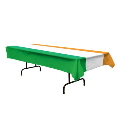 "Irish Tablecover 54"" x 108"" Green, White and Orange (Each)"