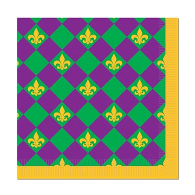 Mardi Gras Beverage Napkins (2 Ply) (16/Package)