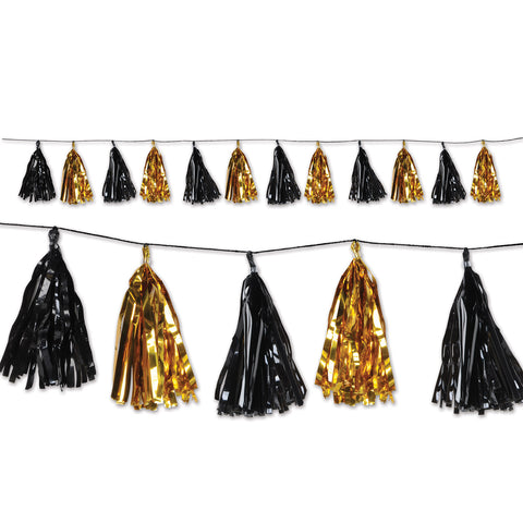 "Metallic Tassel Garland 9.75"" x 8"" Black and Gold (Each)"