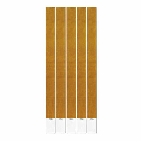 "Gold Tyvek Wristband 7.5"" x 10"" (Pack of 100)"