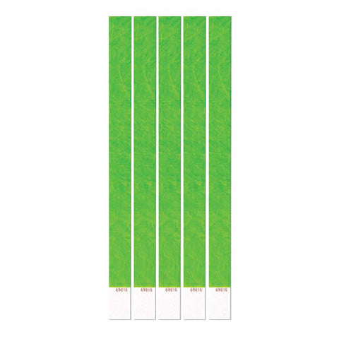 "Tyvek Wristbands 3/4"" x 10"" Neon Lime (100 In Pack)"