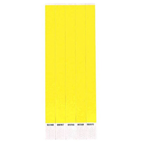 "Tyvek Wristbands 3/4"" x 10"" Yellow (100 In Pack)"