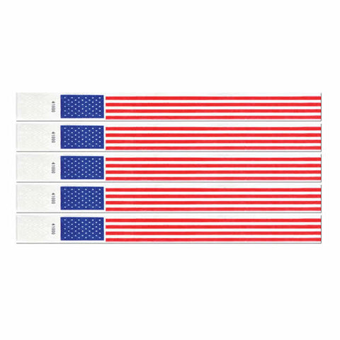 "Tyvek Wristbands 3/4"" x 10"" Patriotic (100 In Pack)"