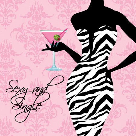 Sassy and Sweet Sexy and Single 3 Ply Beverage Napkins (Pack of 16)