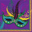 2 Ply Mardi Gras Mask Beverage Napkins (16 Per Pack)