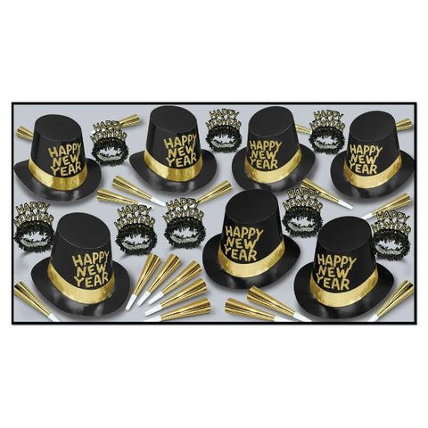 Black and Gold New Year s Eve Kit for 50