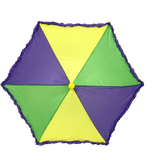 "Purple, Green and Gold Umbrella with Purple Ruffle 14.5"" (Each)"
