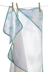 Muslin Hooded Towel and Washcloth Turquoise Giraffe (Set)