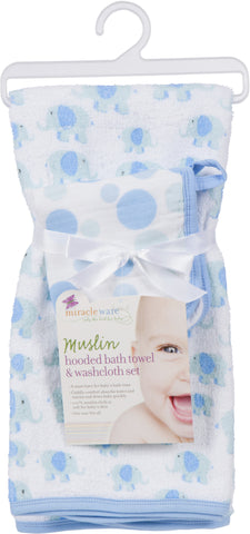 Muslin Hooded Towel and Washcloth Blue Elephant (Set)