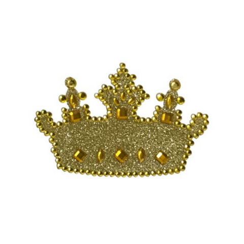 "Gold Crown Jewelry Glitter Sticker 2.5"" x 1.5"" (Each)"