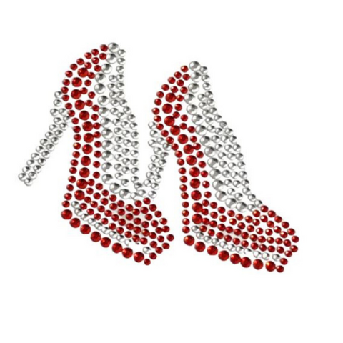 High Heel Shoe Sticker Red and Silver (Each)