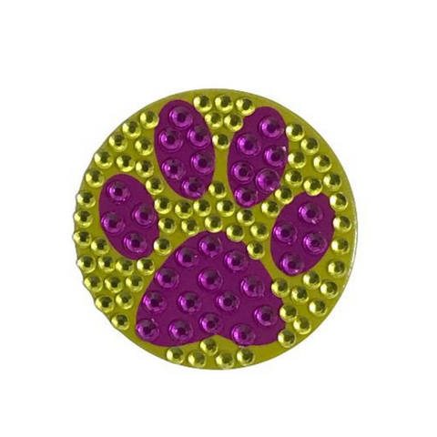 Purple and Gold Paw Print Glitter Sticker (Each)
