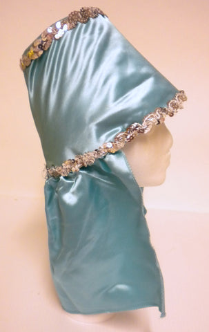 Aqua Costume Hat with Silver Sequin Trim (Each)