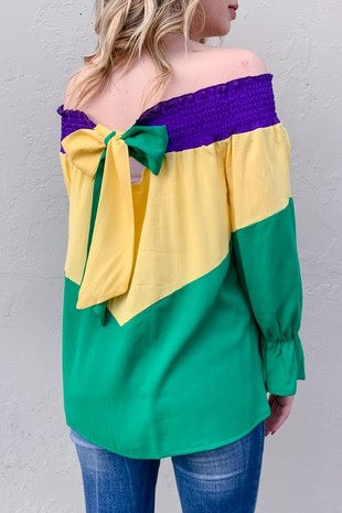 Mardi Gras Smocked Off-Shoulder Top with Ribbon Back (Each)