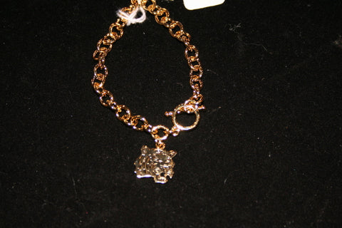 Gold Tone Tiger Face Chain Bracelet (Each)