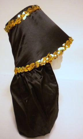 Black Costume Hat with Gold Sequin Trim (Each)