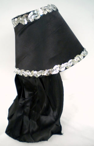 Black Costume Hat with Silver Sequin Trim (Each)