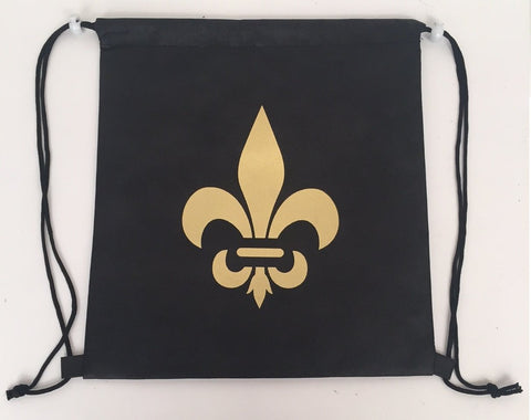"Black and Gold Fleur De Lis Backpack 13.5"" x 14"" (Each)"