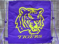 "Purple & Gold Tiger Back Pack 13.5"" X 14"" (DOZEN)"
