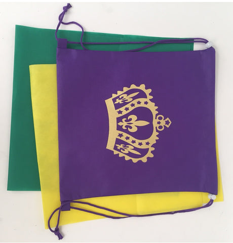 "Purple, Green and Gold Crown Backpack 13.5"" x 14"" (Dozen)"