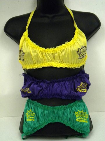 Assorted Purple, Green, and Gold Mardi Gras Bras (Dozen)