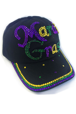 "Black Cap with ""Mardi Gras"" in Purple, Green and Gold Rhinestones (Each)"