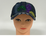 Faded Denim Cap with Purple, Green and Gold Rhinestone Fleur de Lis (Each)