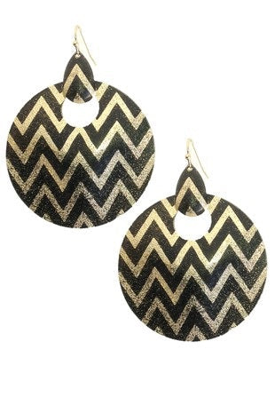 Round Black and Gold Chevron Hook Earrings 48mm (Pair)